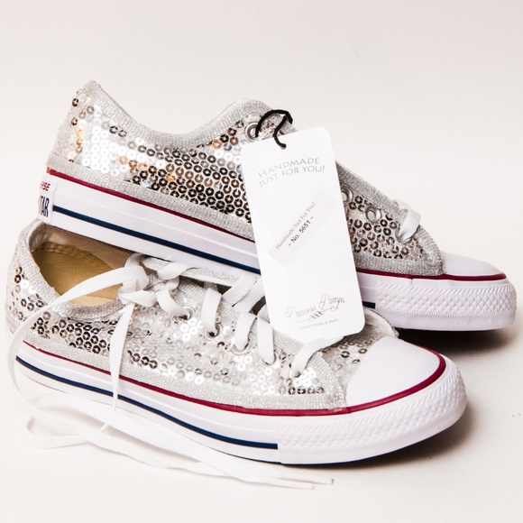87f7014011d Converse All Star Low Top Silver Sequin Sneakers
